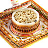 Gold and Red Square Marble Tray with Dryfruit